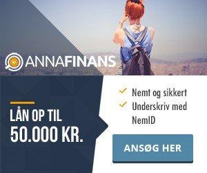 Anna Finans >> Lån 50.000 kr. >> Nemt, sikkert og anonymt