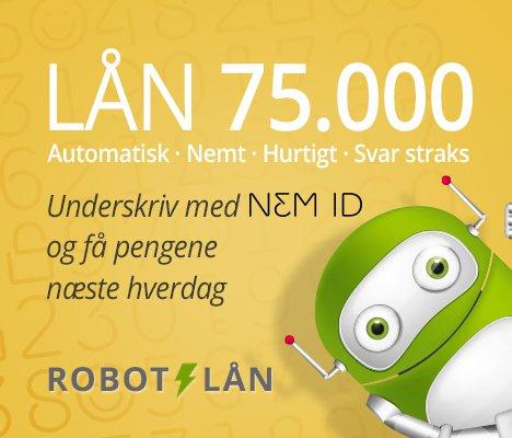 Robot lån >> Lån 75.000 kr >> Svar med det samme